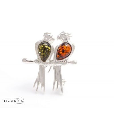 NATURAL BALTIC AMBER STERLING SILVER 925 BROOCH Parrots Certified