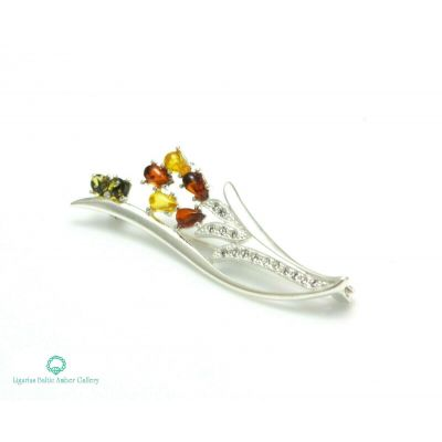 NATURAL BALTIC AMBER STERLING SILVER 925 BROOCH LILY FLOWER Certified