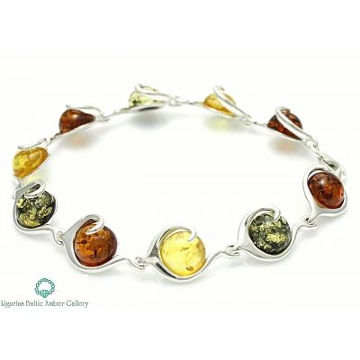 NATURAL BALTIC AMBER Jewellery STERLING SILVER 925 BRACELET Certified & GIFT BOX