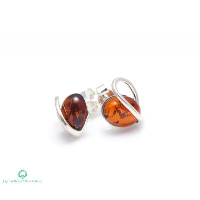 NATURAL BALTIC AMBER STERLING SILVER 925 Earrings Stud Jewellery Certified & Box