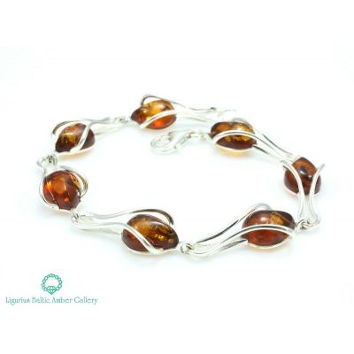NATURAL BALTIC AMBER BRACELET STERLING SILVER 925 Jewellery Certified & GIFT BOX