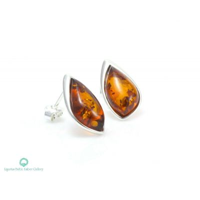 NATURAL BALTIC AMBER STERLING SILVER 925 Earrings Stud Certified +BOX