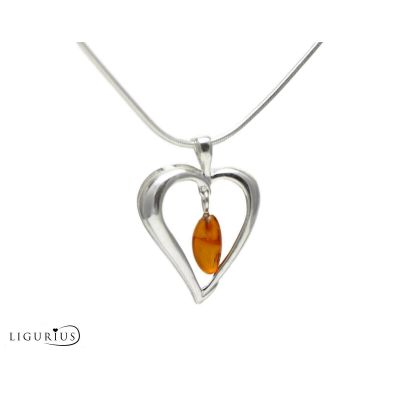NATURAL BALTIC AMBER STERLING SILVER 925 PENDANT Heat & CHAIN NECKLACE Certified