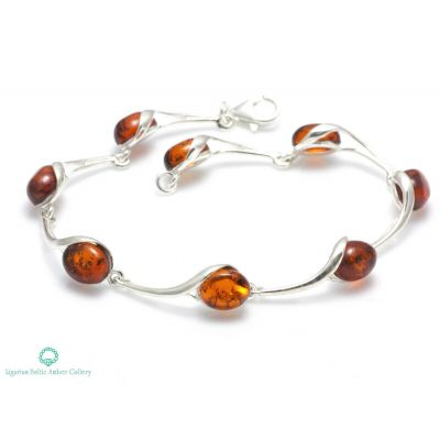 NATURAL BALTIC AMBER Womans Jewellery STERLING SILVER 925 BRACELET Certified