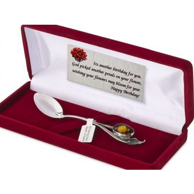 PERSONALISED NEW BORN BABY BOY GIRL CHRISTENING GIFT SILVER SPOON NATURAL AMBER