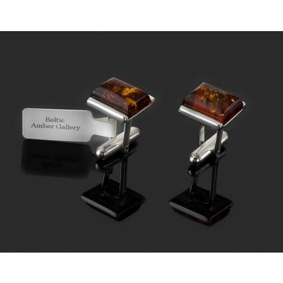 NATURAL BALTIC AMBER STERLING SILVER 925 CUFFLINKS HAND ENGRAVING