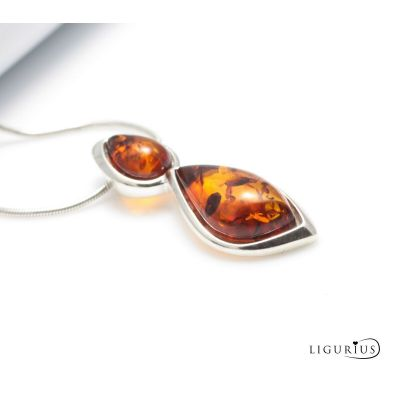 NATURAL BALTIC AMBER Jewellery Gemstone STERLING SILVER 925 PENDANT NECKLACE