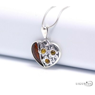 NATURAL BALTIC AMBER STERLING SILVER 925 PENDANT Heart CHAIN NECKLACE Certified