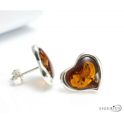 BOX NATURAL BALTIC AMBER STERLING SILVER 925 Earrings Rose Stud Certified