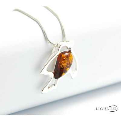 NATURAL BALTIC AMBER STERLING SILVER 925 Bird PENDANT & NECKLACE Certified