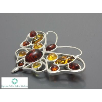 NATURAL BALTIC AMBER STERLING SILVER 925 BROOCH Butterfly Certified + BOX