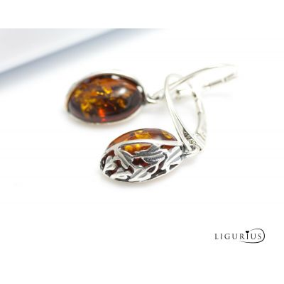 NATURAL BALTIC AMBER Stone STERLING SILVER 925 Earrings Droop Dangle Certified