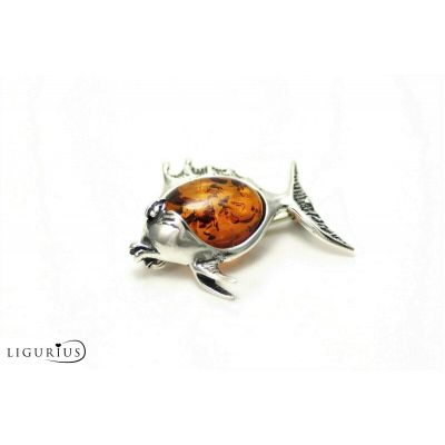 NATURAL BALTIC AMBER STERLING SILVER 925 BROOCH Fish Certified GIFT BOX