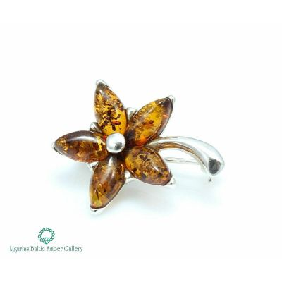 NATURAL BALTIC AMBER STERLING SILVER 925 BROOCH Flower Certified & GIFT BOX
