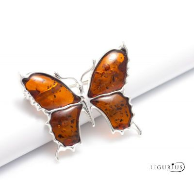 NATURAL BALTIC AMBER STERLING SILVER 925 BROOCH Pin Butterfly Gemstone Certified