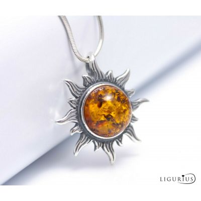 NATURAL BALTIC AMBER Jewellery STERLING SILVER 925 Sun PENDANT NECKLACE & Box